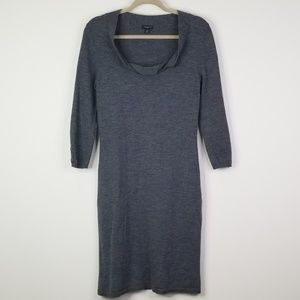 Charcoal gray wool tall length sweater dress